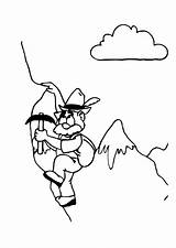Coloring Alpinist Mountain Pages Alpinismo Edupics Holidays Paint sketch template