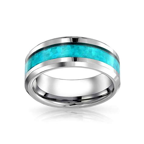 mens tungsten reconstituted turquoise blue inlay wedding