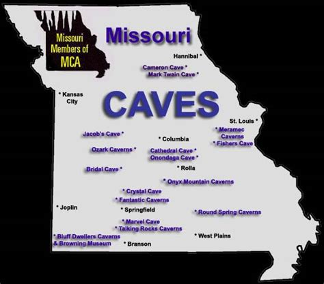 missouri caves cave map attractions mo underground caverns area kansas st meramec branson war louis systems famous smallin camping columbia
