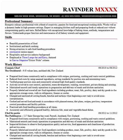 commis chef resume sample chef resumes livecareer