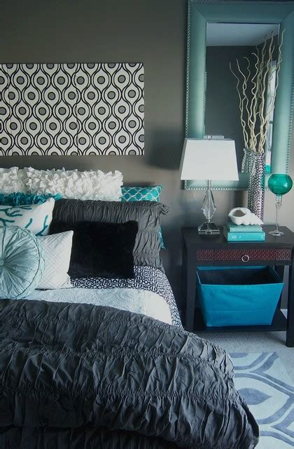 gray and turquoise bedroom contemporary bedroom grand rapids by storybook interiors