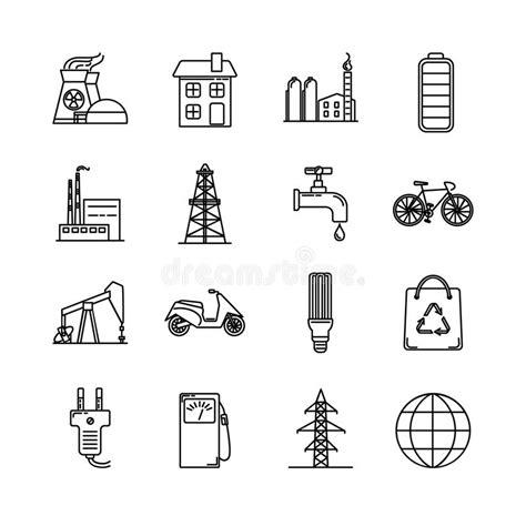 Línea Emblema De Las Fuentes De Energía Ilustración del