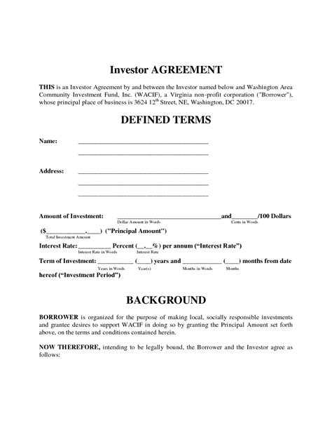 simple investment contract template  printable documents