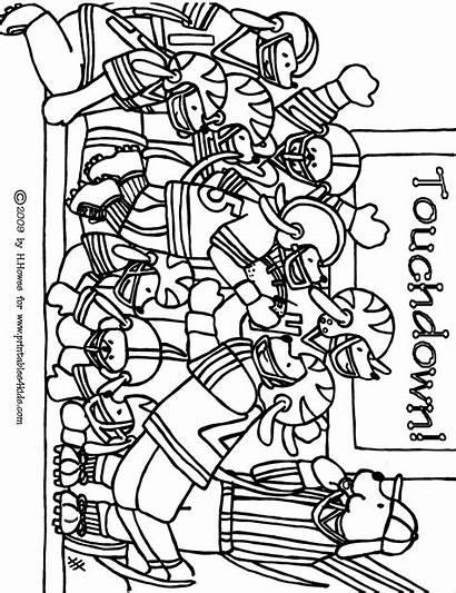 Football Coloring Printable Pages Worksheets Kindergarten Preschool