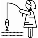 Svg Fishing Woman Onlinewebfonts Icon