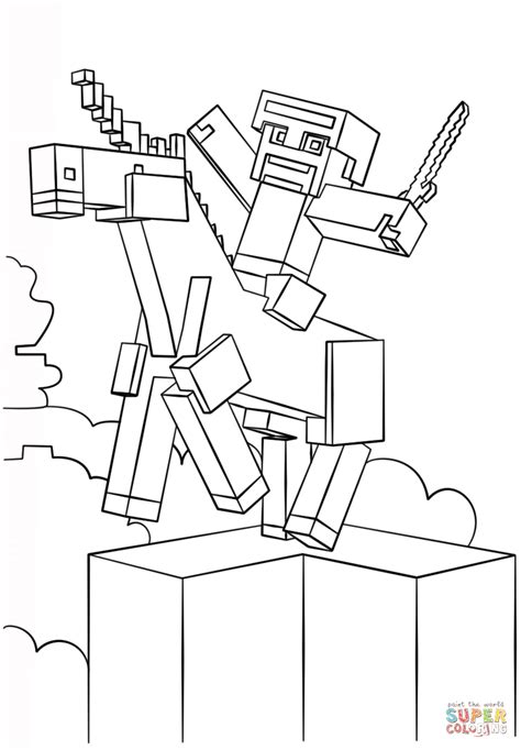 minecraft unicorn coloring page  printable coloring
