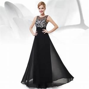 robe noir longue de soiree femme dentelle fleurie noir With déco chambre bébé pas cher avec robe longue a fleur manche longue
