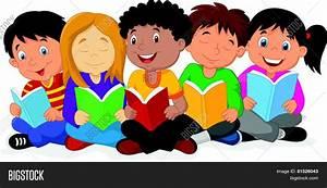 Happy Children Cartoon Sitting On Vector & Photo | Bigstock