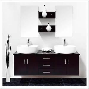 Enchanteur meuble salle de bain double vasque noir avec for Salle de bain design avec double vasque noir