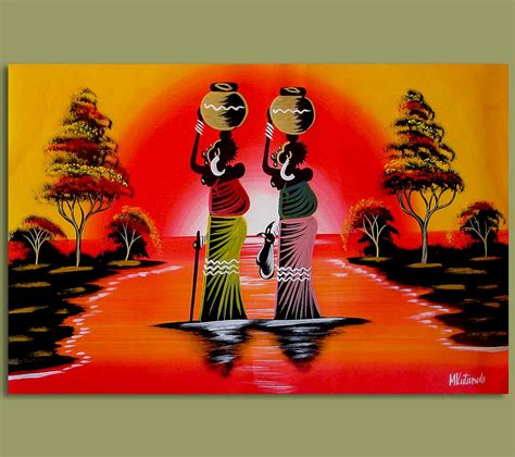 african art african art woman water carriers