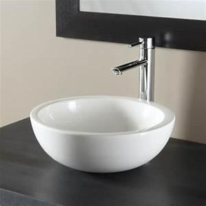 Vasque a poser bol vasques salle de bains porcelaine blanche for Salle de bain design avec vasque blanche ronde