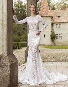 elegant mermaid lace wedding dresses 2016 crew neck sheer With lace wedding dresses 2016