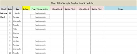 production schedule template production schedule template excel word excel tmp