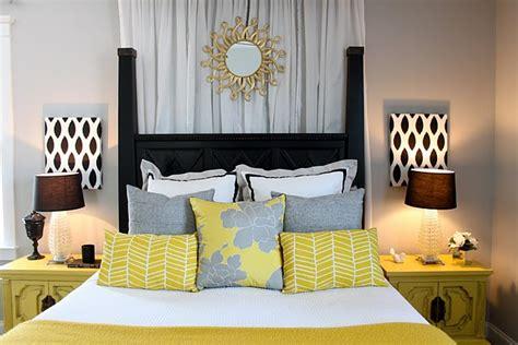 yellow  gray bedroom design ideas