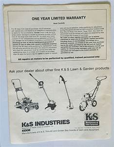 K U0026s Industries Weed  U0026 Grass Trimmer Edger Owners Manual