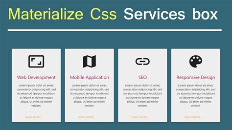materialize css services card box design youtube