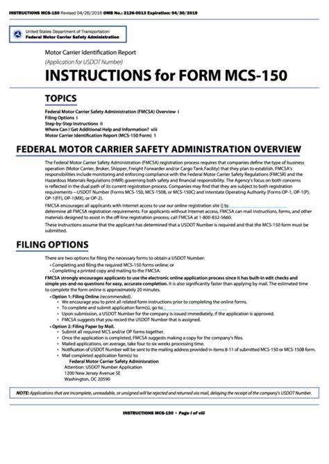 fmcsa form mcs 150 fillable form mcs 150 motor carrier identification