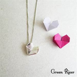 Origami Silver Heart Necklace / Sterling Silver Paper ...