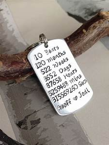 hand stamped anniversary keyring 10 year anniversary gift With 10 year wedding gift