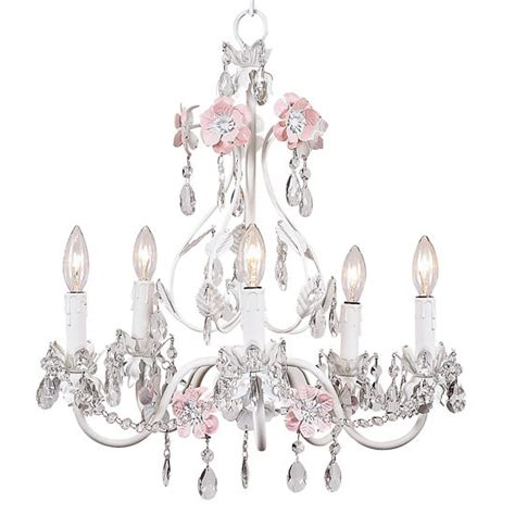 5 arm pink and white flower garden chandelier the frog