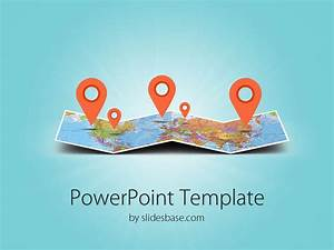 3d folded map travel business world map markers pin With travel themed powerpoint template