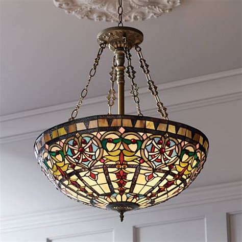 ornamental tiffany style 24 quot wide art glass pendant light