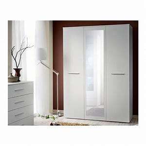 Armoire Chambre Blanche : armoire de chambre blanche avec miroir wild cbc meubles ~ Teatrodelosmanantiales.com Idées de Décoration