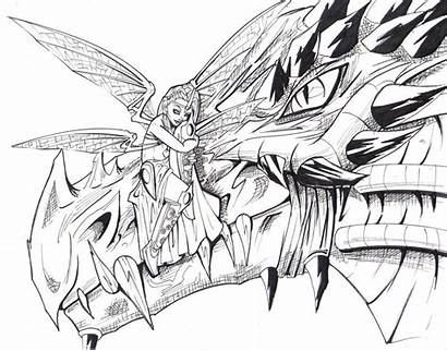 Dragon Fairy Coloring Pages Fantasy Grown Ups