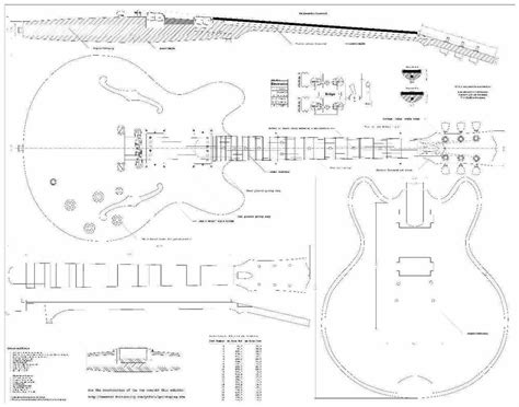 Gibson Es335 Archtop Electric Guitar Plans Full Scale