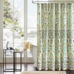 Brown And Aqua Shower Curtain by Floral Accent Rounded Shower Curtain Using Chrome Curtain