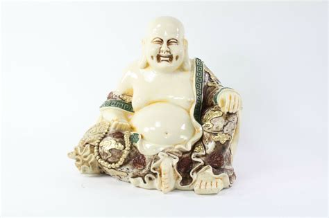 Feng Shui Ivory Happy Face Laughing Buddha Figurine Statue
