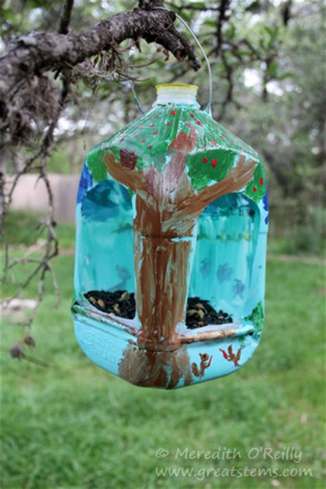 wildlife projects  kids milk jug bird feeders great