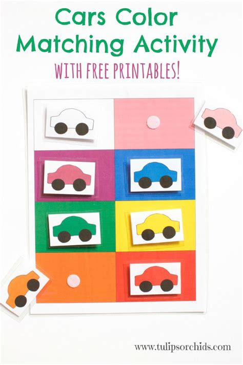 Cars Color Matching Activity {free Printables}  Tulips & Orchids  Printables Pinterest