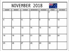 November 2018 Calendar New Zealand