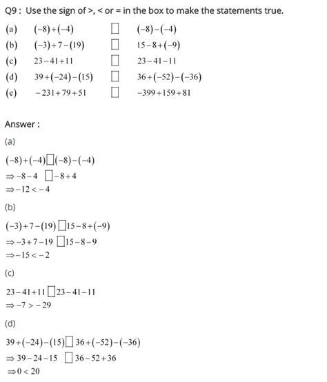 integers worksheet grade 7 cbse rd sharma class 7