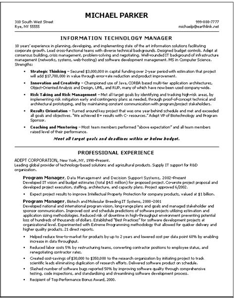 resume information technology manager information technology resume exles berathen com