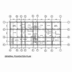 Foundation plan - Apartment building CAD plan