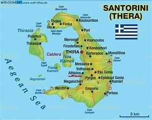 Map of Santorini (Thera) (Island in Greece) | Welt-Atlas.de