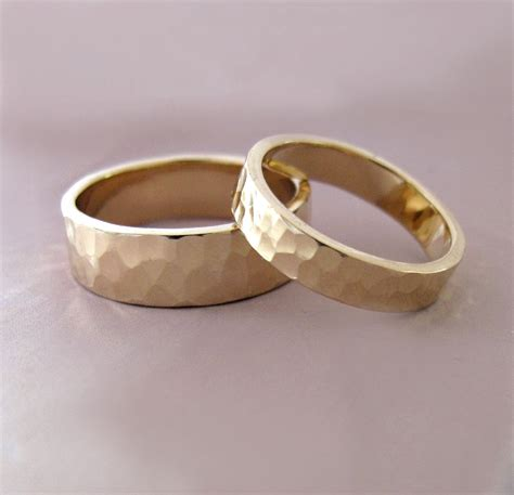 14k gold wedding ring of two hammered by esdesigns