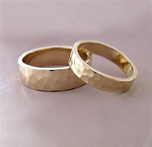 14k gold wedding ring set of two hand hammered recycled gold With hammered wedding rings