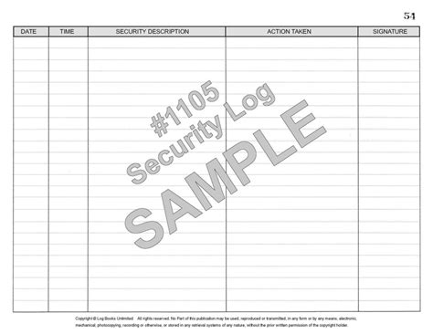 Alarm Log Book Template by Security Log Book 1105 Log Books Unlimited 174 Recording