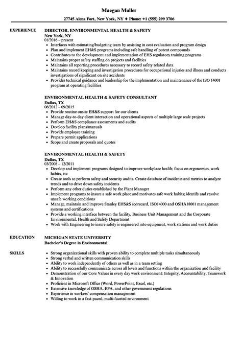 environmental health safety resume samples velvet jobs