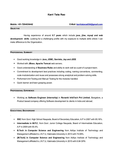 Best Website To Upload Resume by Resume With 7 Months Internship Experiance In Java