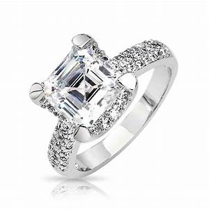 Asscher cut cubic zirconia engagement rings wedding and for Asscher cut wedding rings