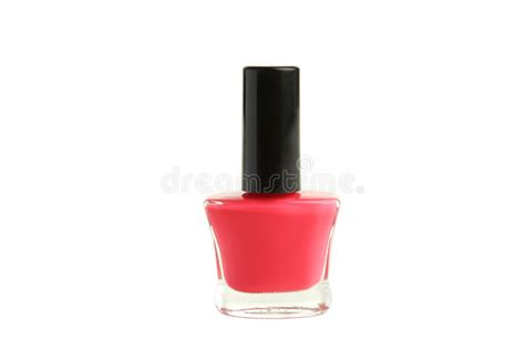 Pink Nail Polish Bottle Isolated On White. Stock Photo