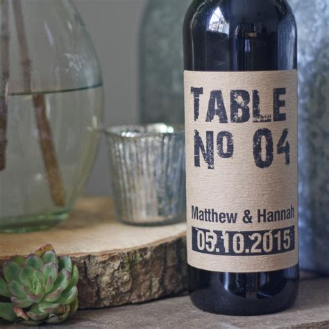 Wine Bottle Table Numbers Rustic Personalised The