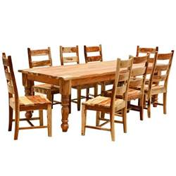 rustic solid wood farmhouse dining room table chair set - Wood Dining Room Sets