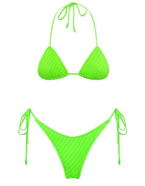 A textured pattern side-tie bikini in neon green. Fully ...