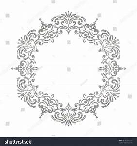 Elegant Luxury Vintage Circle Silver Floral Stock Vector ...