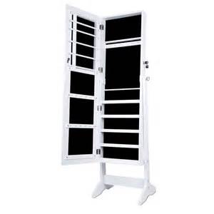 mirrored jewelry cabinet armoire mirror organizer storage box ring with stand ebay